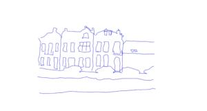 contact, een lijntekening voor het creatief weergeven van de locatie